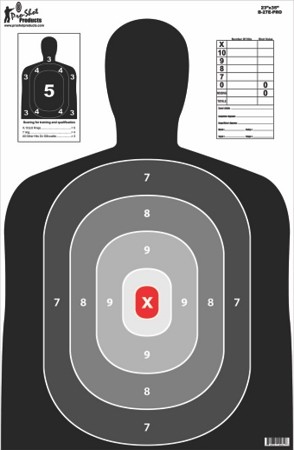 "23"" x 35"" B27 Silhouette Target- Pro  Red Center 5 Pack"
