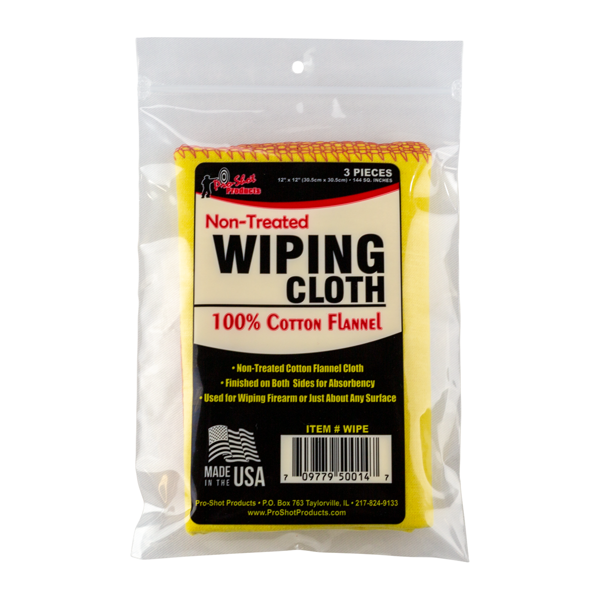 Yellow Cotton Flannel Wipe Cloths with Red Sewn Edges-  Non-Treated Cloth (3 per bag)